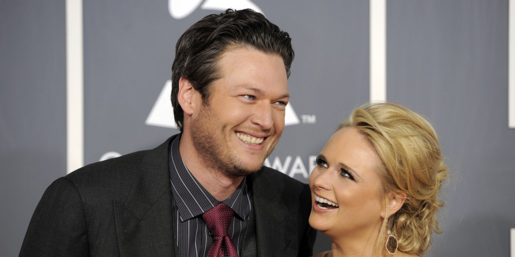 Blake Shelton, left, and Miranda Lambert arrive at the 53rd annual Grammy Awards on Sunday, Feb. 13, 2011, in Los Angeles. (AP Photo/Chris Pizzello)