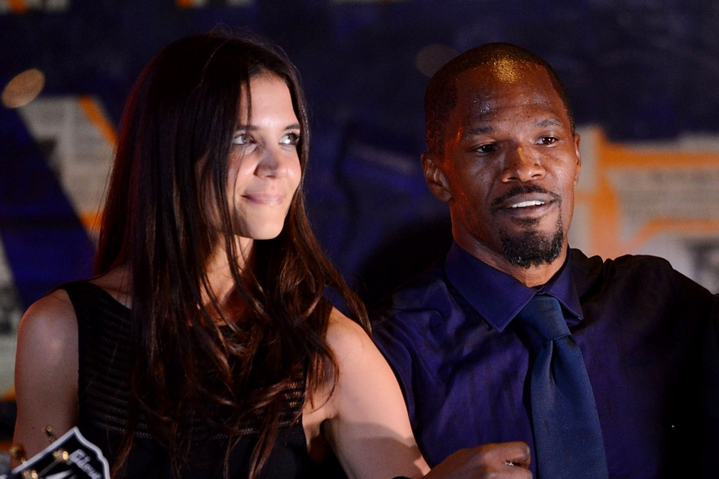 EAST HAMPTON, NY - AUGUST 24:  katie Holmes, Jamie Foxx and Colion Powell perform at the  4th Annual Apollo In The Hamptons Benefit on August 24, 2013 in East Hampton, New York.  (Photo by Shahar Azran/WireImage)