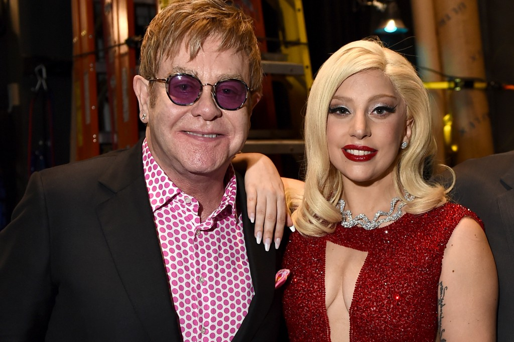 EXCLUSIVE - IMAGE DISTRIBUTED FOR GEFFEN PLAYHOUSE - Elton John, left, and Lady Gaga attend Backstage at the Geffen on Sunday, March 22, 2015, in Los Angeles. (Photo by Jordan Strauss/Invision for Geffen Playhouse/AP Images)