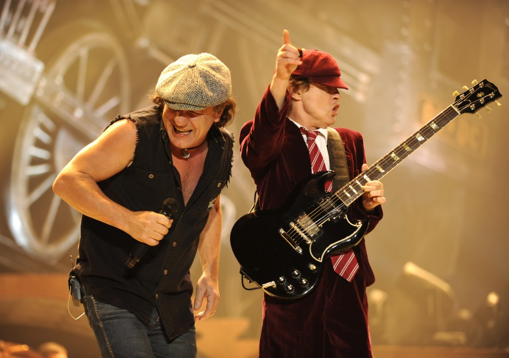 "WILKES-BARRE, PN - OCTOBER 28:  Malcolm Young (L) and Angus Young of AC/DC perform during their ""Black Ice"" Tour Opener on October 28, 2008 in Wilkes-Barre, Pennsylvania.  (Photo by Kevin Mazur/Getty Images)"
